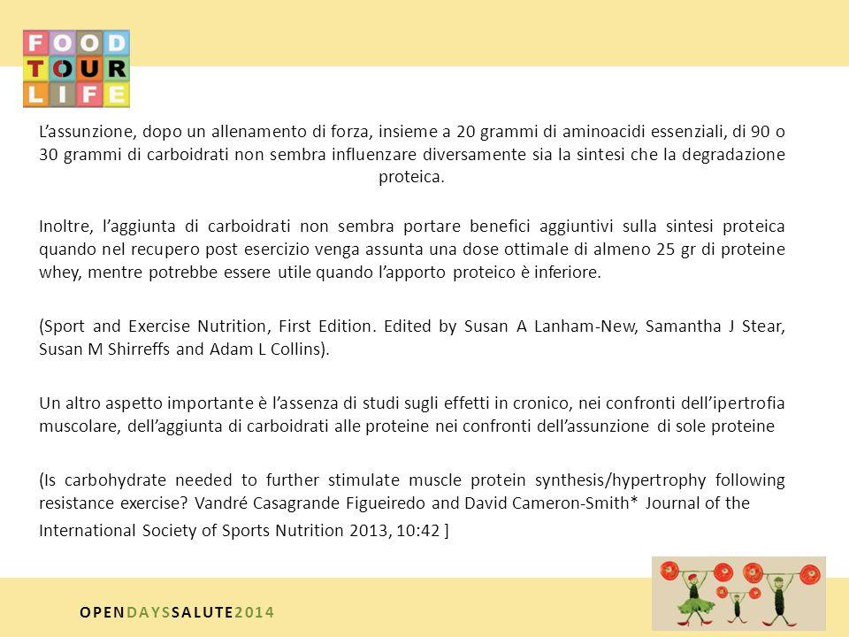 L'assunzione, dopo un allenamento di forza, insieme a 20 grammi di aminoacidi essenziali, di 90 o 30 grammi di carboidrati non sembra influenzare diversamente sia la sintesi che la degradazione proteica. Inoltre, l'aggiunta di carboidrati non sembra portare benefici aggiuntivi sulla sintesi proteica quando nel recupero post esercizio venga assunta una dose ottimale di almeno 25 gr di proteine whey, mentre potrebbe essere utile quando l'apporto proteico è inferiore. (Sport and Exercise Nutrition, First Edition. Edited by Susan A Lanham-New, Samantha J Stear, Susan M Shirreffs and Adam L Collins). Un altro aspetto importante è l'assenza di studi sugli effetti in cronico, nei confronti dell'ipertrofia muscolare, dell'aggiunta di carboidrati alle proteine nei confronti dell'assunzione di sole proteine (Is carbohydrate needed to further stimulate muscle protein synthesis/hypertrophy following resistance exercise Vandré Casagrande Figueiredo and David Cameron-Smith* Journal of the International Society of Sports Nutrition 2013, 10:42 ]